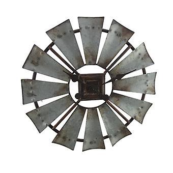 Rustikk galvanisert grå 16 tommers Metal vindmølle veggur