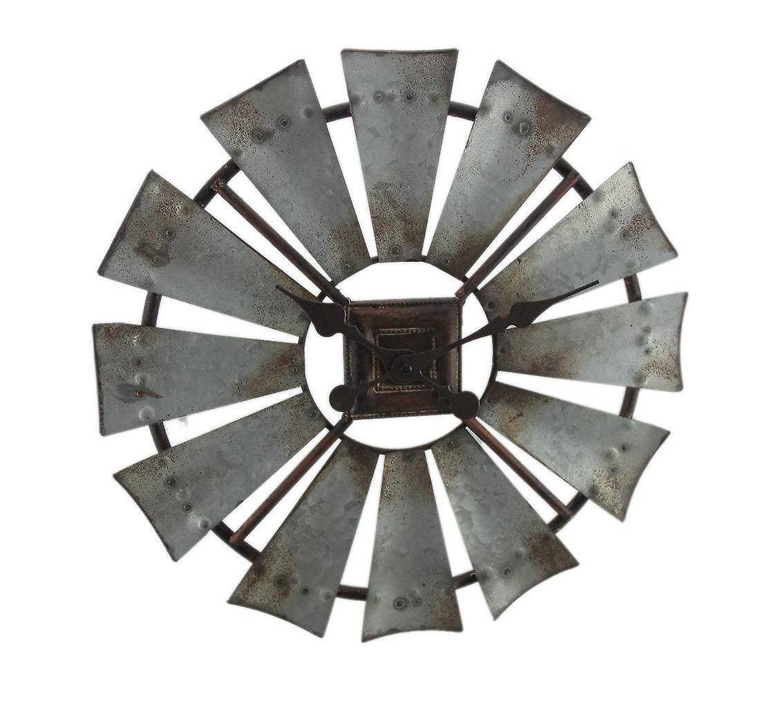 Windmill Metal Rustic Wall Galvanized Clock Inch 16 Grey Y2DIWEH9