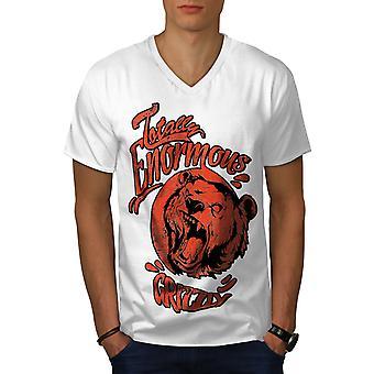 Enormous Grizzly Men WhiteV-Neck T-shirt   Wellcoda