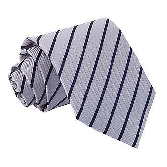 Silver & Navy Single Stripe Classic Tie