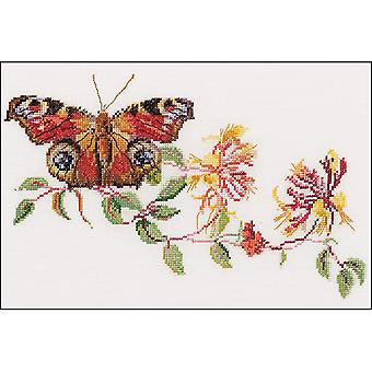 Butterfly Honeysuckle On Aida Counted Cross Stitch Kit-11.5