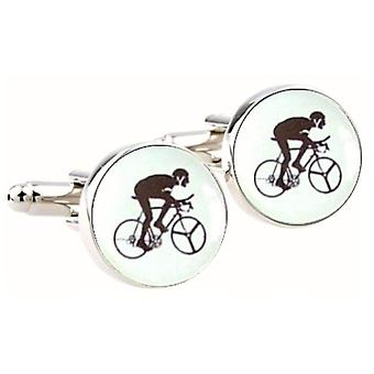 Bassin and Brown Round Cycling Cufflinks - White/Black