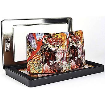 Santana Abraxas Set Of 6 Metal / Cork Drinks Coasters In Tin