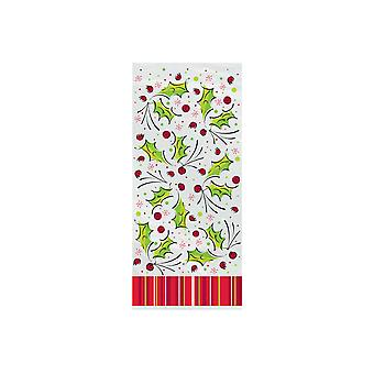 20 Cellophane Christmas Party Bags - Holly & Berry   Christmas Party Loot Bags