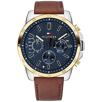 Tommy Hilfiger Men's Brown Leather Blue Dial Gold Plated Case 1791561 Watch