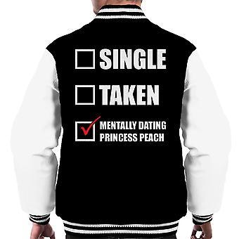 Mentally Dating Princess Peach Men's Varsity Jacket