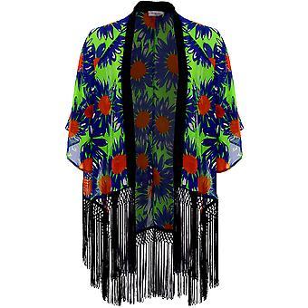 Damer Flare Sleeve Chiffon blommor ut öppen främre tofs kvinnors Kimono jacka