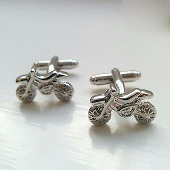 Sports Silver Dirt Bike Motorcycle Racing Novelty Cufflinks Wedding Gift