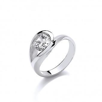 Cavendish Französisch eleganten Silber und CZ Solitär Auge Ring
