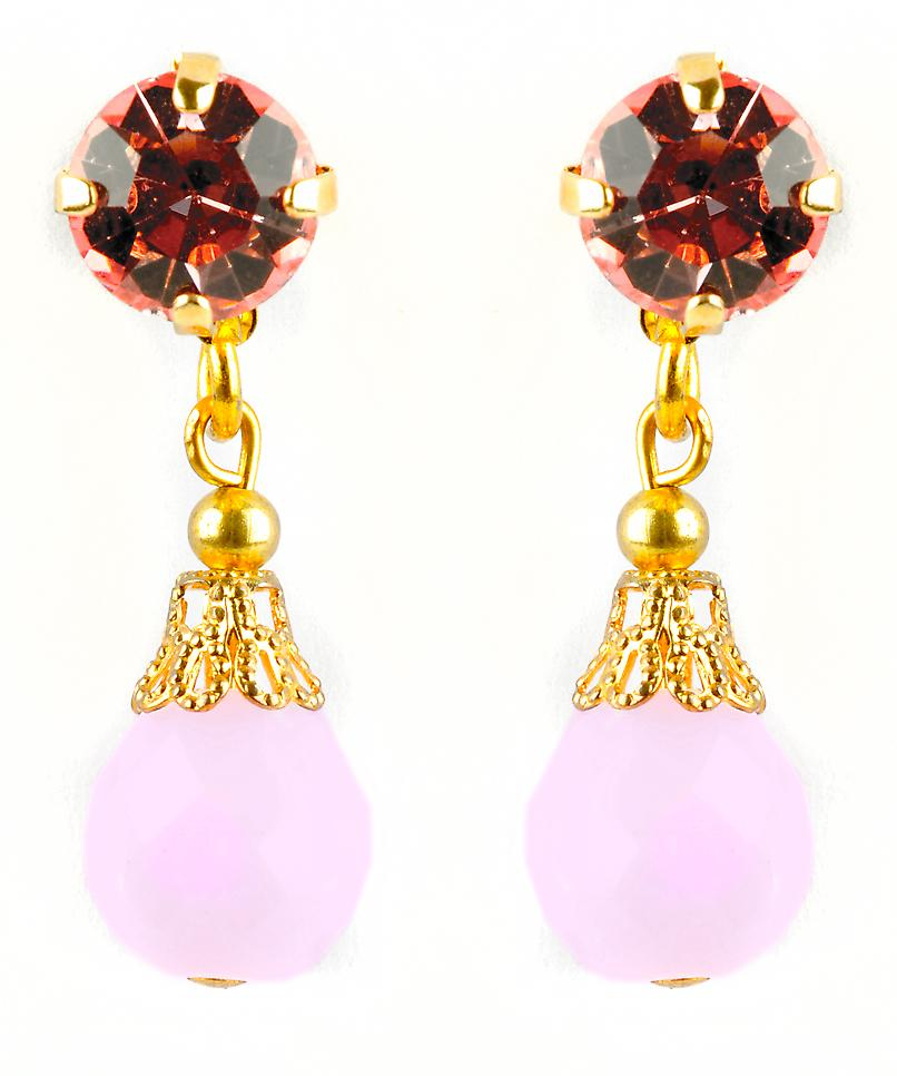 Waooh - Fashion Jewellery - WJ0691 - D'Oreille earrings with Swarovski Strass Red Rose - Frame Colour Gold