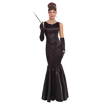 High Society lange zwarte jurk
