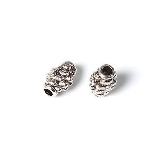 Packet 50+ Antique Silver Tibetan 5 x 7mm Barrel Spacer Beads HA17710