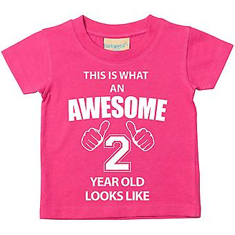 This is What An Awesome 2 Year Old Looks Like Pink Tshirt