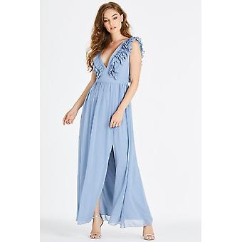 Little Mistress Amina Blue Plunge Maxi Dress With Frill