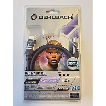 Oehlbach High Speed HDMI Cable with Ethernet 3 D 1.2 Meter DVD Magic 120