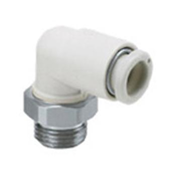 SMC Pneumatic Elbow Threaded-To-Tube Adapter, R 1/8 Male, Push In 4 Mm