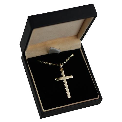 9ct Gold 30x18mm line border block Cross with Belcher chain