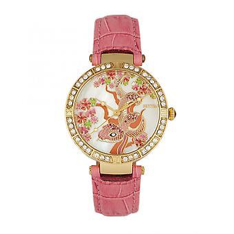 Bertha Mia moeder-van-parel leder-Band Watch-Pink