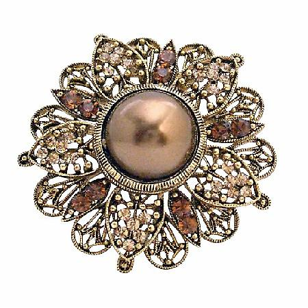 Wedding Round Copper Gold Plated Antique Bridesmaid Brooch Pin