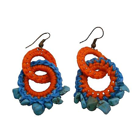 Bohemian Handknitted Orange Turquoise Earrings w/ Tuquoise Nuggets