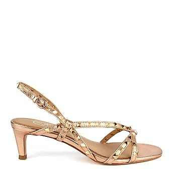 Ash KITTY Heel Sandals In Rose Gold Leather & Studs