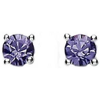 Bella 4mm Cubic Zirconia Stud Earrings - Silver/Lilac