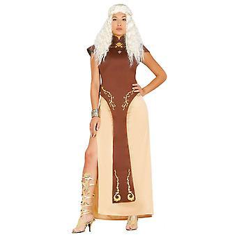 Womens Medieval Dragon Queen Fancy Dress Costume