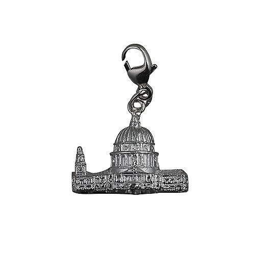 Silver 15x19mm hollow St. Paul's Cathedral Charm on a lobster trigger