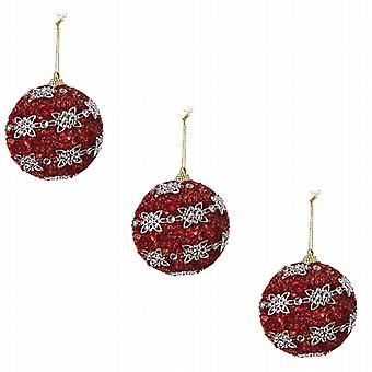 Deluxe Glitter Christmas Tree Bauble Red Silver Flower Design Pack of 6 Round (513054RR)