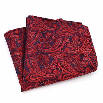 Red & dark back paisley pattern men's pocket square