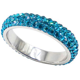 Ah! Jewellery Stainless Steel Blue Zirconia Full Eternity Band