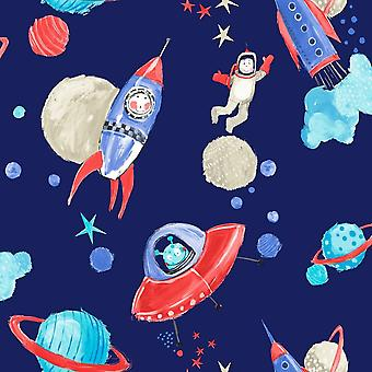 Children's Star Ship Space Man Rocket Wallpaper Silver Glitter Blue Arthouse