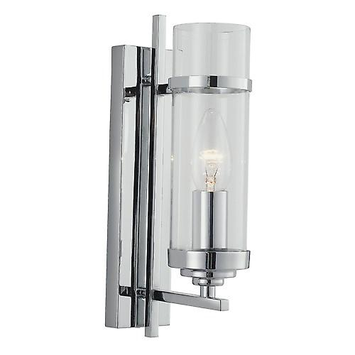 Searchlight 3091-1CC Milo Modern Chrome Switched Wall Light With Clear Cylinder Glass