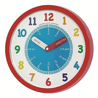 London Clock Co Childrens Learning Red Wall Clock