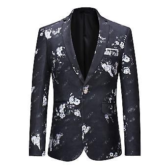 Allthemen mannen bloem gedrukte blazer slim fit pak Floral causale jas voor mannen