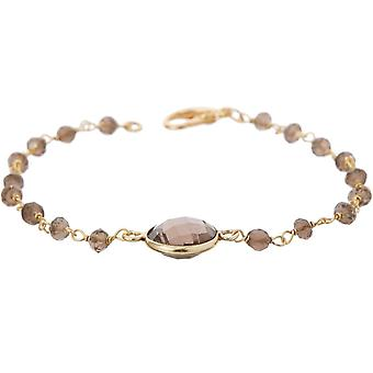 Gemshine bracelet with smoky quartz gemstones in 925 silver or gold plated