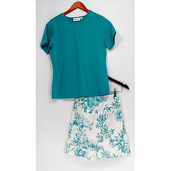 Denim & Co. Set Stretch T-shirt & Stretch Classic Printed Skort Blue A10855