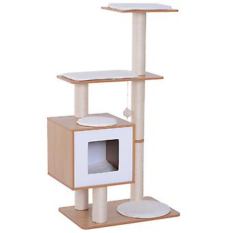 PawHut Wood Cat Furniture Scratching Post Kitten House Condo Activity Center w/ Cushion Multi-level With Hanging Toy
