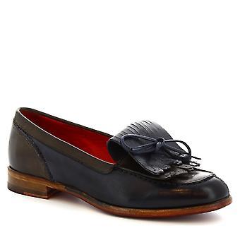 Leonardo Shoes Women's handmade fringe loafers shoes in blue calf leather