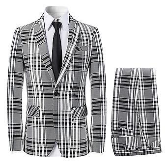 Allthemen men ' s 3-delige suits geruite Business Casual blazer & vest & broek