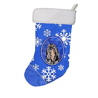 Black and Tan Coonhound Winter Snowflakes Christmas Stocking