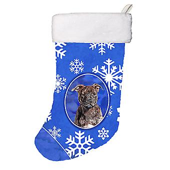 Staffordshire Bull Terrier Staffie Winter Snowflakes Christmas Stocking