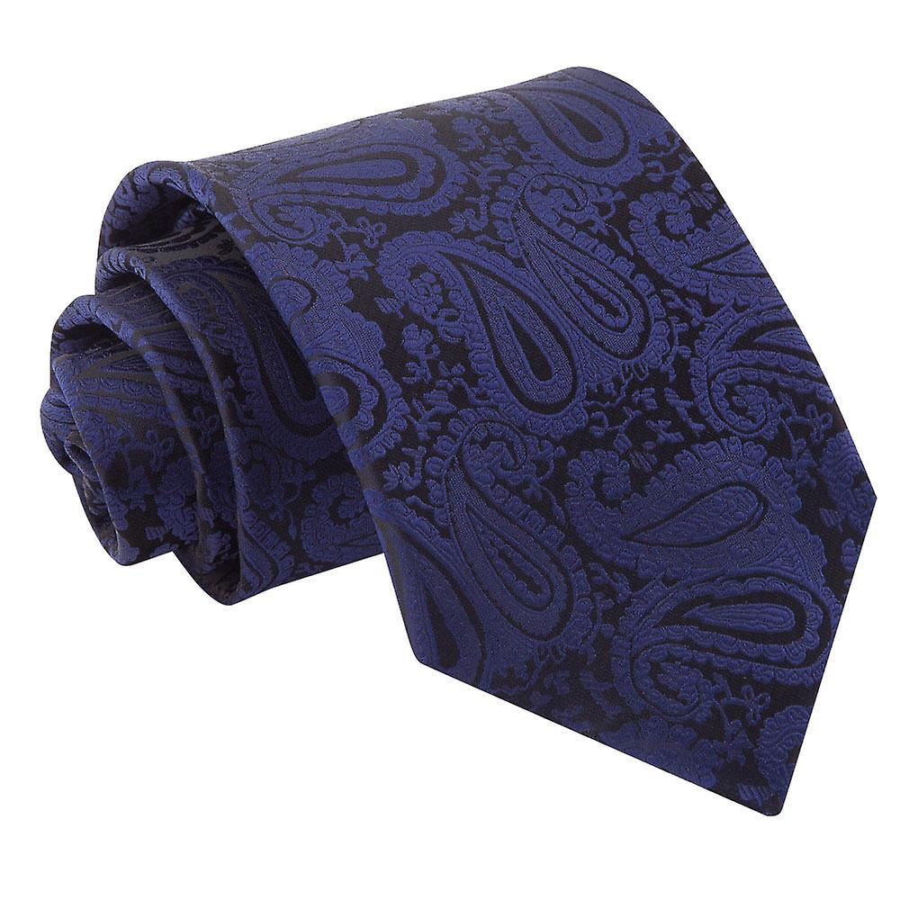 Navy Blue Paisley Patterned Tie