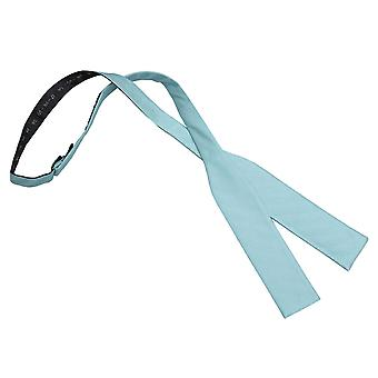 Aqua Herringbone Silk Batwing Self Tie Bow Tie
