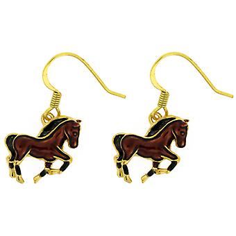 Fine Enamels Brown Galloping Horse Earrings