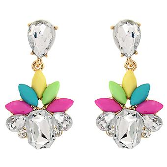 Multicoloured Bead & Diamante Crystal Bling Drop Earrings
