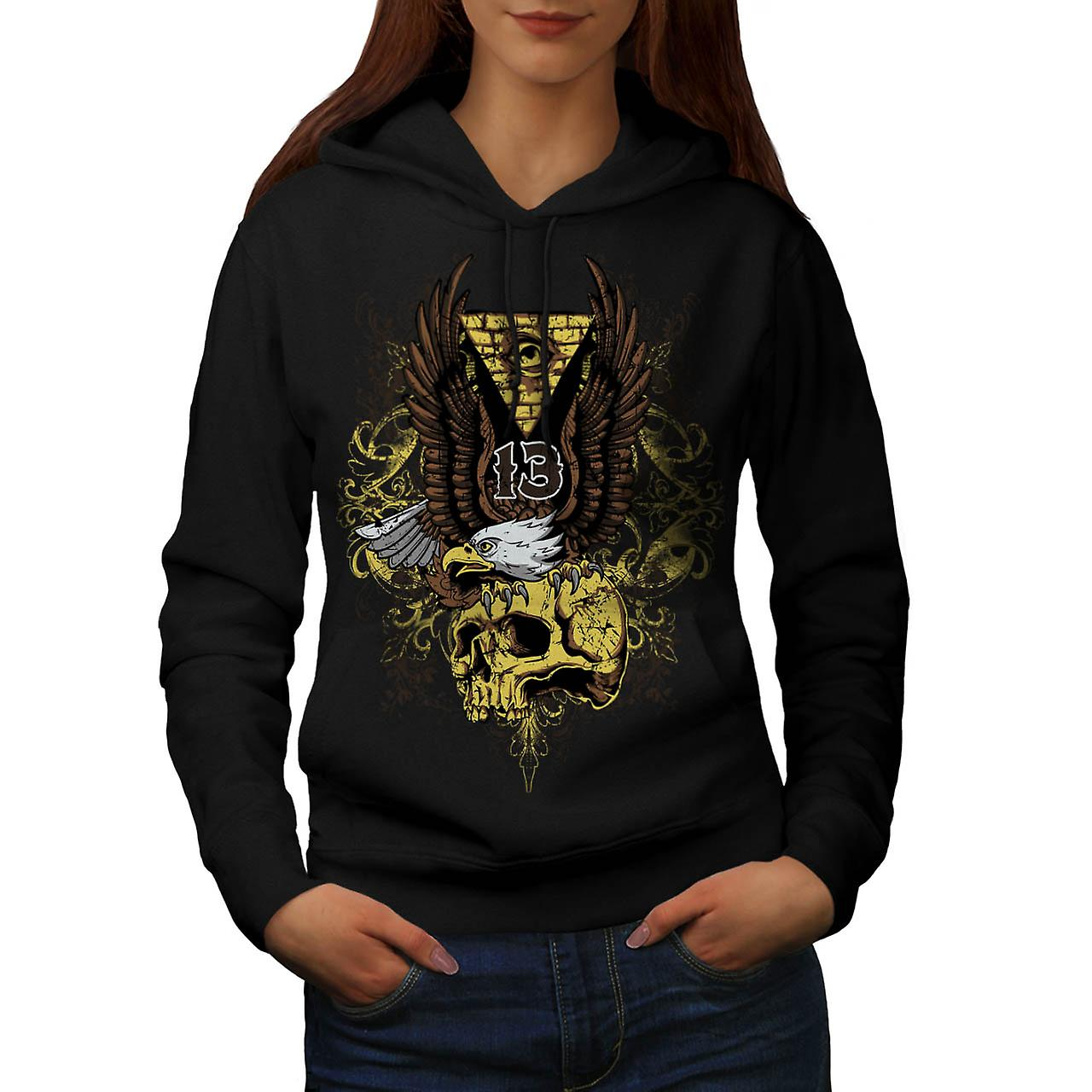 Evil Eagle Bird Skull Deadly Eye Women Black Hoodie | Wellcoda