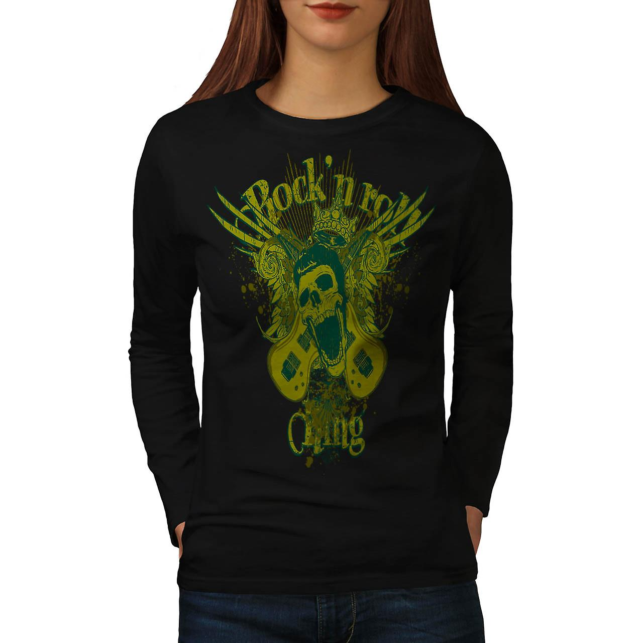 Donna re del rock and Roll chitarra Skull Black t-shirt manica lunga | Wellcoda