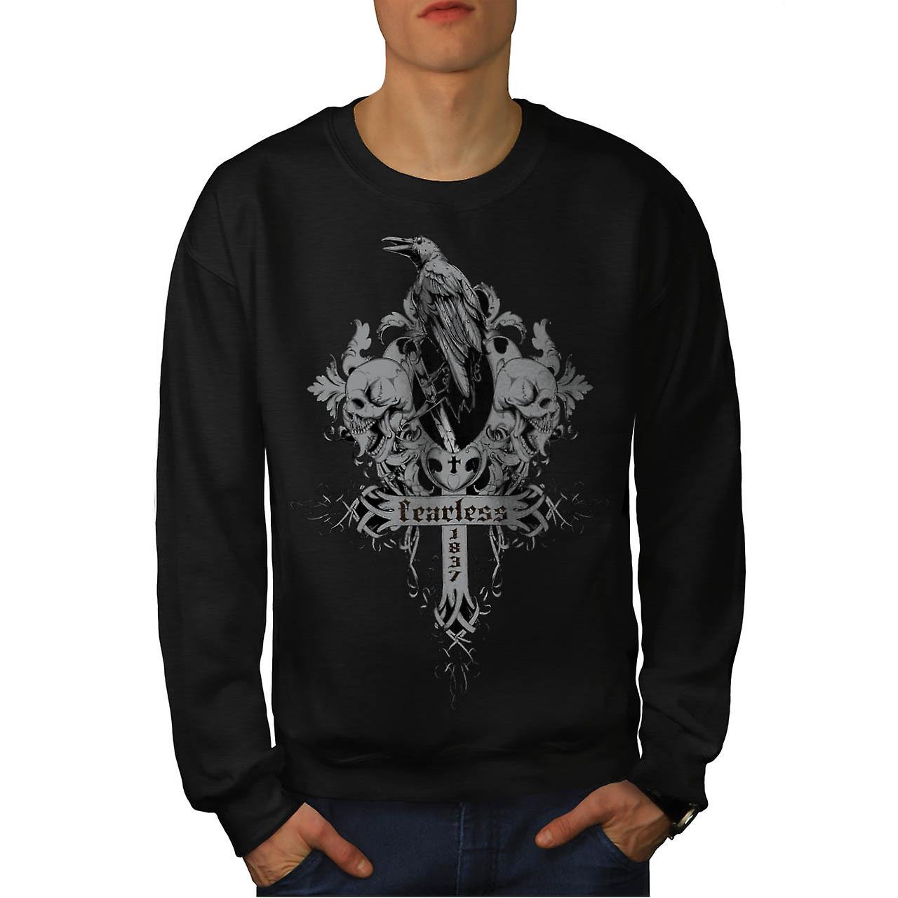 Fearless Death Crow Grave Yard Men Black Sweatshirt | Wellcoda