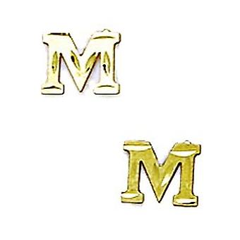 14k Yellow Gold Initial M Stamping Children Earrings - Measures 6x7mm